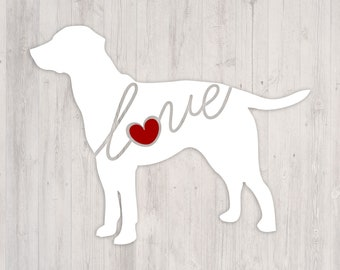 Labrador Retriever Love: A Car Window Vinyl Decal - Laptop Sticker - Dog Breed Decals - Dog Stickers - Cooler Decal - Gift for Dog Lover