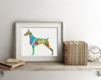 Doberman Pinscher Art Print - A Watercolor Style Modern Wall Art Print and Gift for Dog Lovers