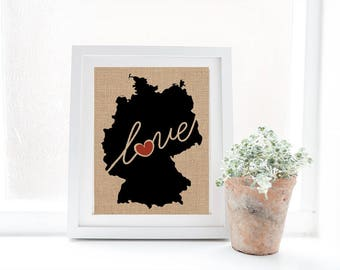 Germany Love - Burlap or Canvas Paper State Silhouette Wall Art Print / Home Decor (Free Shipping)