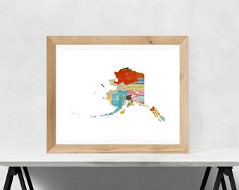 Alaska Wall Art - A Modern Collage and Mixed Media Style Home Decor State Map