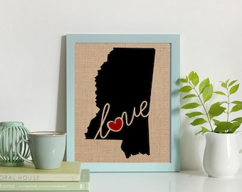 """Mississippi (MS) """"Love"""" or """"Home"""" Burlap or Canvas Paper State Silhouette Wall Art Print / Home Decor (Free Shipping)"""