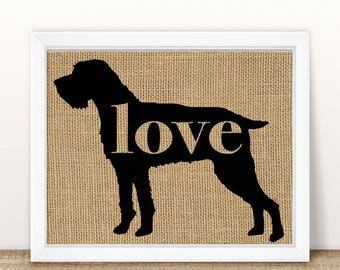 German Wirehaired Pointer  / GWP - Burlap Dog Breed Wall Art Decor Print - Gift for Dog Lovers - Can Be Personalized w/ Name (101p)