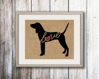 American English Coonhound Love - Burlap or Canvas Paper Dog Breed Wall Art Decor Print - Gift for Dog Lovers - Personalize w/ Name (101s)