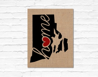 "Rhode Island (RI) ""Love"" or ""Home"" Burlap or Canvas Paper State Silhouette Wall Art Print / Home Decor (Free Shipping)"