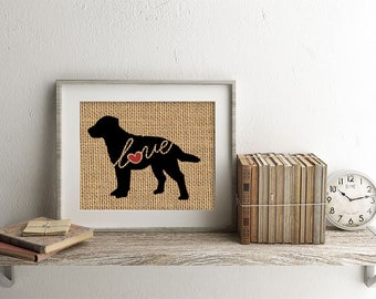 Chesapeake Bay Retriever / Chessie - Print on Burlap - Dog Memorial Pet Loss Gift - Rustic Farmhouse Decor - More Breeds & Add Name (101s)