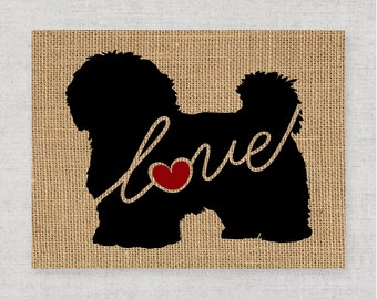 Maltese / Havanese - Burlap or Canvas Paper Dog Breed Wall Art Home Decor Print - Gift for Dog Lovers - Can Be Personalized with Name (101s)