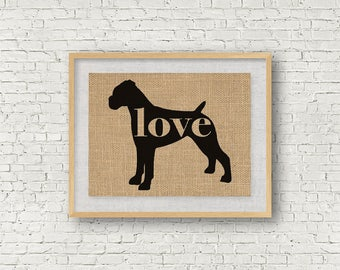 Boxer With Uncropped / Natural Ears - Burlap Dog Breed Wall Art Decor Print - Gift for Dog Lovers - Can Be Personalized w/ Name (101p)