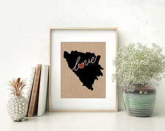 Bosnia Love - Burlap or Canvas Paper State Silhouette Wall Art Print / Home Decor (Free Shipping)