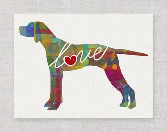 English Pointer Love - A Colorful, Bright & Whimsical Watercolor Home Decor Gift, Can Be Personalized with Name (+ More Breed Options)