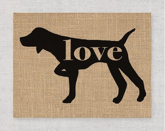 German Shorthaired Pointer / Pointing - Burlap Dog Breed Wall Art Decor Print - Gift for Dog Lovers - Can Be Personalized w/ Name (101pp)