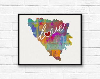 Bosnia Love - Colorful Watercolor Style Wall Art Print & Home Country Map Artwork - Adoption, Moving, Engagement, Wedding Gift and More