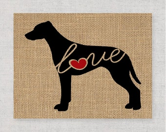 Rhodesian Ridgeback Love - Burlap or Canvas Paper Dog Breed Wall Art Home Decor Print - Gift for Dog Lovers - Personalize w/ Name (101s)