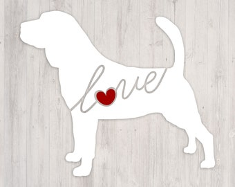 Bloodhound Love: A Car Window Vinyl Decal - Laptop Sticker - Dog Breed Decals - Dog Stickers - Cooler Decal - Gift for Dog Lover