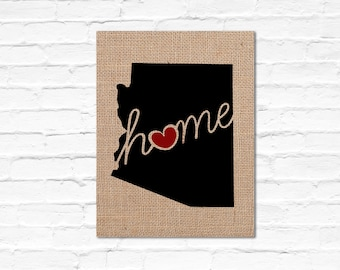 """Arizona (AZ) """"Love"""" or """"Home"""" Burlap or Canvas Paper State Silhouette Wall Art Print / Home Decor(Free Shipping)"""