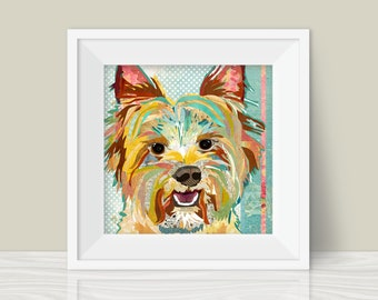 Yorkie Art Print - A Mixed Media and Collage Style Modern Wall Art Print and Gift for Yorkshire Terrier Lovers
