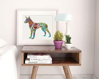 Great Dane Love - A Colorful, Bright & Whimsical Watercolor Print Home Decor Gift - Can Be Personalized with Name (+ More Breeds)