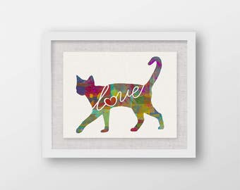 Russian Blue Cat Art Print - A Watercolor Style Modern Wall Art Print and Gift for Cat Lovers