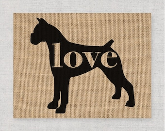 Boxer With Cropped / Docked Ears - Burlap Dog Breed Wall Art Decor Print - Gift for Dog Lovers - Can Be Personalized w/ Name (101p)