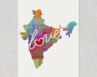 India Love - Colorful Watercolor Style Wall Art Print & Home Country Map Artwork - Travel, Moving, Engagement, Wedding, Honeymoon Gift