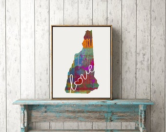 New Hampshire Love - NH - Colorful Watercolor Style Wall Art Hanging & State Map Artwork Print - College, Moving, Engagement and Shower Gift