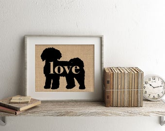 Mini Goldendoodle / Labradoodle / Doodle Love - Burlap Wall Art Gift for Dog Lovers - Personalize Silhouette w/ Name - More Breeds (101p)
