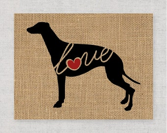 Greyhound Love - Burlap or Canvas Paper Dog Breed Wall Art Home Decor Print - Gift for Dog Lovers - Can Be Personalized with Name (101s)