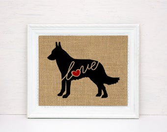 Belgian Malinois Love -Burlap Wall Art Print Home Decor Gift for Dog Lovers - Personalize w/ Name - More Breeds - Rustic Silhouette (101s)