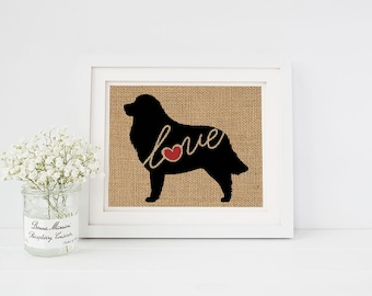 Great Pyrenees Love - Wall Art Print on Burlap - Dog Memorial Pet Loss Gift - Rustic Farmhouse Home Decor - More Breeds / Add Name (101s)
