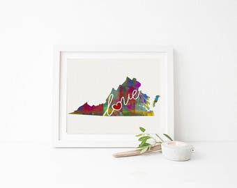 Virginia Love - VA - A Colorful Watercolor Style Wall Art Hanging & State Map Artwork Print - College, Moving, Engagement and Shower Gift