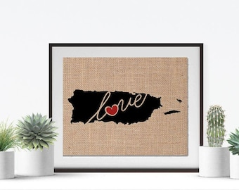 Puerto Rico Love - Burlap or Canvas Paper State Silhouette Wall Art Print / Home Decor (Free Shipping)
