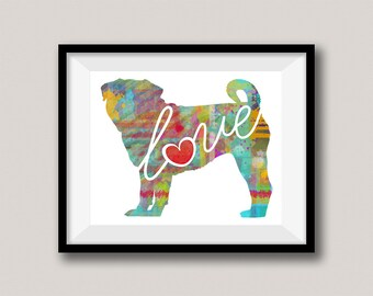 Pug Art Print - A Watercolor Style Modern Wall Art Print and Gift for Dog Lovers