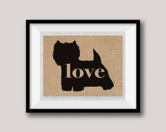 Westie / West Highland Terrier - Burlap Dog Breed Wall Art Home Decor Print Gift for Dog Lovers - Can Be Personalized with Name (101p)