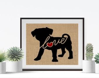 Puggle Love (Pug / Beagle) - Art Print on Burlap - Dog Memorial Pet Loss Gift - Rustic Farmhouse Home Decor - More Breeds / Add Name (101s)