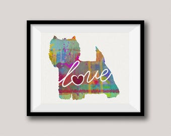 Westie / West Highland Terrier Art Print - A Watercolor Style Modern Wall Art Print and Gift for Dog Lovers