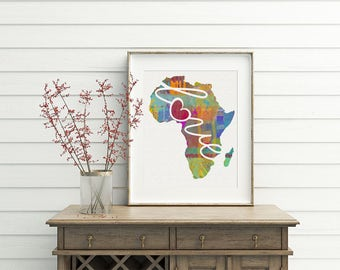 Africa Love - A Colorful Watercolor Style Wall Art Print & Home Country Map Artwork - Adoption, Moving, Engagement, Wedding Gift and More