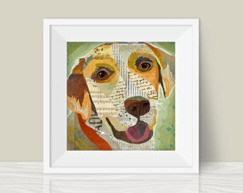 Yellow Lab Art Print - A Mixed Media and Collage Style Modern Wall Art Print and Gift for Labrador Lovers