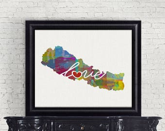 Nepal Love - Colorful Watercolor Style Wall Art Print & Home Country Map Artwork - Travel, Moving, Engagement, Wedding, Honeymoon Gift