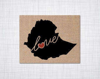 Ethiopia Love - Burlap or Canvas Paper State Silhouette Wall Art Print / Home Decor (Free Shipping)
