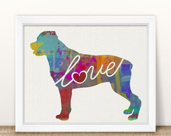 Rottweiler / Rottie Art Print - A Watercolor Style Modern Wall Art Print and Gift for Dog Lovers