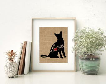Abyssinian Love - A Burlap Print for Cat Lovers - Cat Memorial - Pet Loss Gift - Farmhouse Decor - Rustic - Personalized Wall Art - 101s