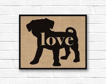 Puggle Love (Pug / Beagle) - Art Print on Burlap - Dog Memorial Pet Loss Gift - Rustic Farmhouse Home Decor - More Breeds / Add Name (101p)