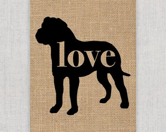 American Bulldog / Bully Love - Burlap Dog Breed Home Decor Rustic Print - Gift for Dog Lovers - Can Be Personalized with Name (101p)