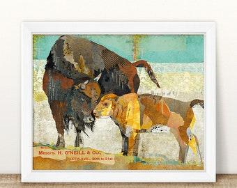 Bison and Calf - Farmhouse Style Collage Art Print - A Colorful 8x10 or 11x14 Home & Wall Decor Fine Art Print Buffalo / Western Artwork