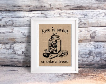 Love is Sweet / Candy Bar Burlap or Canvas Paper Print: A Vintage Inspired / Retro Sign Perfect for Wedding or Anniversary Parties
