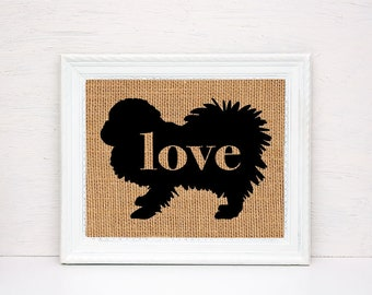 Pekingese Love - Burlap or Canvas Paper Dog Breed Wall Art Home Decor Print Gift for Dog Lovers - Can Be Personalized with Name (101p)