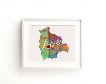 Bolivia Love - Colorful Watercolor Style Wall Art Print & Home Country Map Artwork - Travel, Moving, Engagement, Wedding, Honeymoon Gift