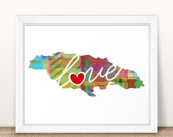 Jamaica Love - Colorful Watercolor Style Wall Art Print & Home Country Map Artwork - Travel, Moving, Engagement, Wedding, Honeymoon Gift