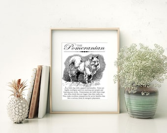 Pomeranian (Pom) - Typography Wall Art Print on Canvas Paper With Dog Breed Dictionary Style Definition - Dog Lover Gift - Home Decor - Gift