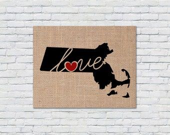 """Massachusetts (MA) """"Love"""" or """"Home"""" Burlap or Canvas Paper State Silhouette Wall Art Print / Home Decor (Free Shipping)"""