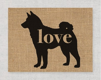 Akita Love - A Burlap Wall Art Print Decor Gift for Dog Lovers - Can Personalize w/ Name - More Breeds Available - Rustic Silhouette (101p)